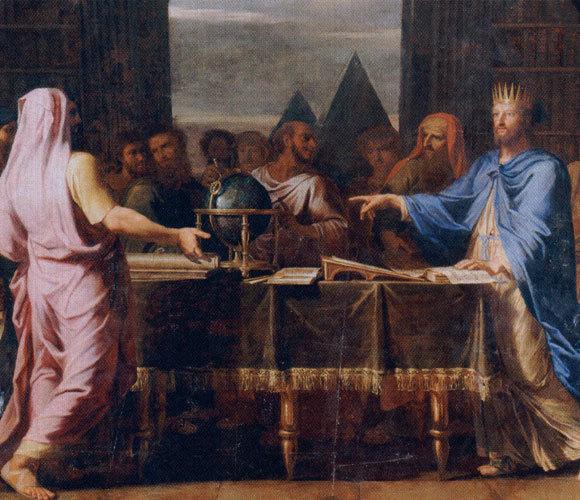 Ptolemaios II. spricht mit einem Teil der Septuaginta-Übersetzer. Gemälde von Jean-Baptiste de Champaigne, 1672, Versailles.