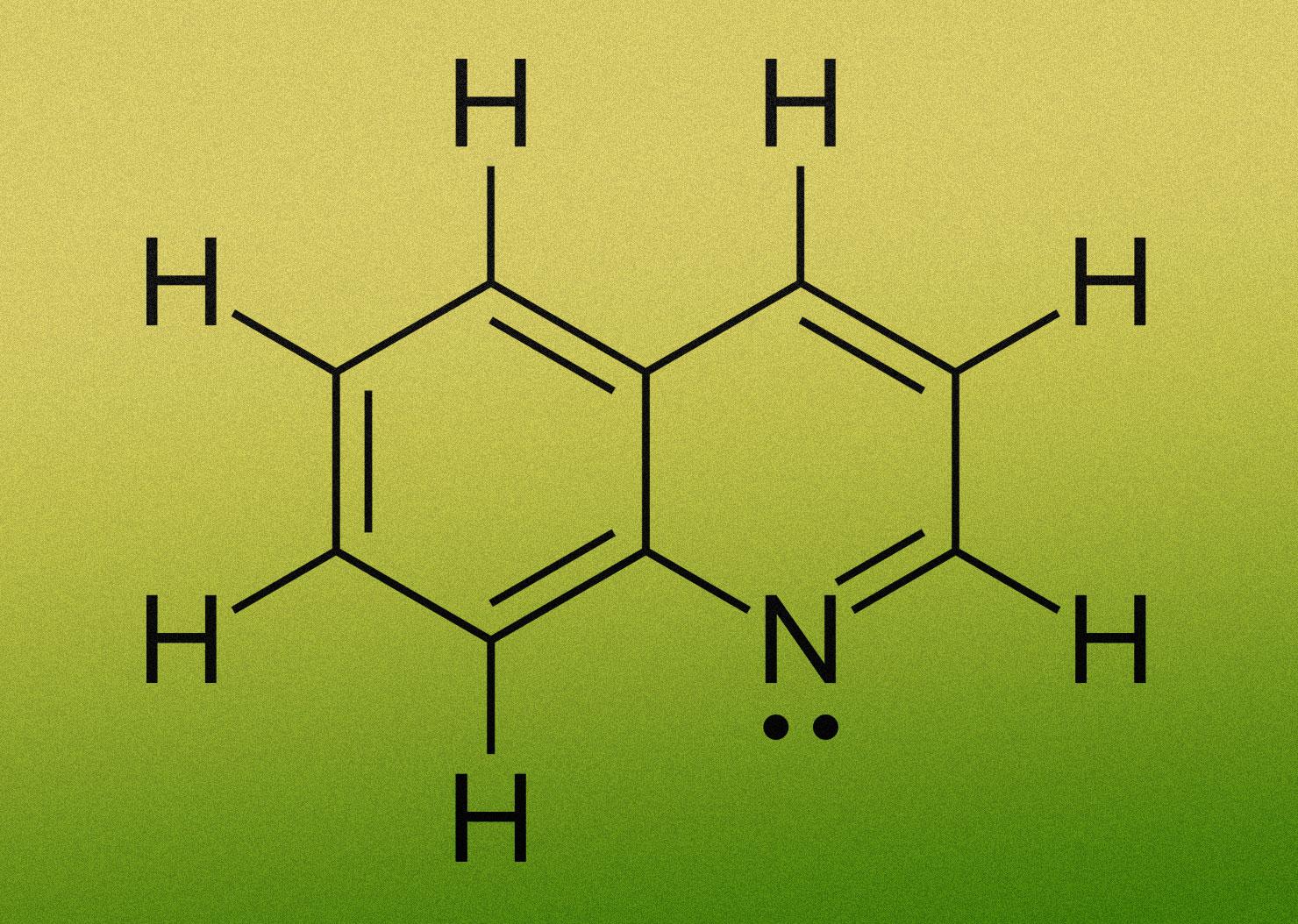 מונעת מהטפיל לגבש ולנטרל את מולקולות ההים המסוכנות. מולקולת קווינולין | תרשים: ויקיפדיה,  Vaccinationist