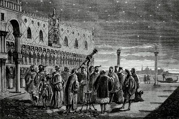 גלילאו מדגים את את הטלסקופ שלו לנכבדי ונציה ב-1609   מקור: SCIENCE PHOTO LIBRARY