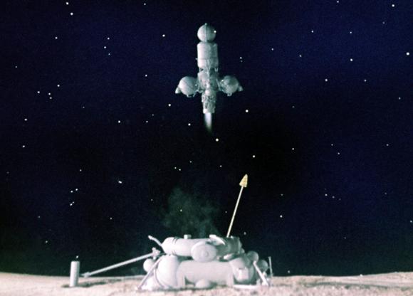 החללית לונה 16 ממריאה מפני הירח עם דגימה של כ-100 גרם חול ואבק ירחי | הדמיה: Science Photo Library