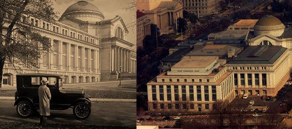 המוזיאון בצילום אווירי ובציור מ-1926 | מקור: Amanda, ספריית הקונגרס, ויקיפדיה