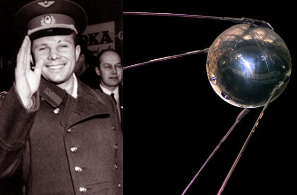 הצלחות תעמולתיות מסחררות. דגם של לוויין ספוטניק 1 והאדם הראשון בחלל - יורי גגרין | צילומים: ויקיפדיה