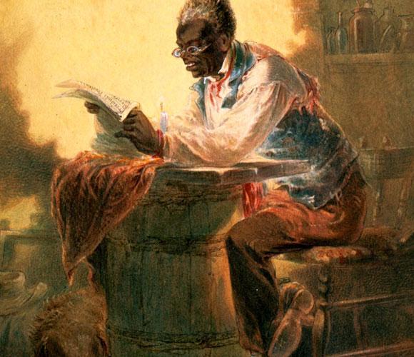 אדם שחור קורא את החדשות על הצהרת השחרור | ציור: Henry Louis Stephens
