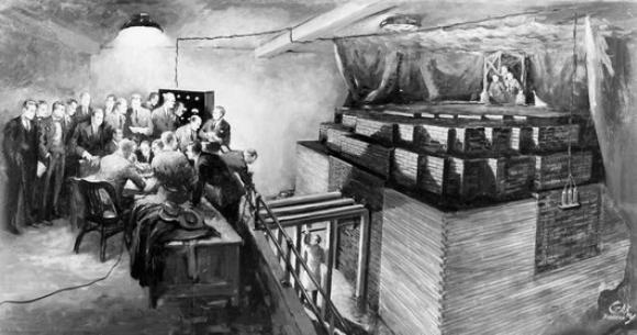 ערימת האורניום והגרפיט מתחת ליציעי האצטדיון בשיקגו שבה הפעיל פרמי את תגובת השרשרת הגרעינית | מקור: GARY SHEAHAN / US NATIONAL ARCHIVES AND RECORDS ADMINISTRATION / SCIENCE PHOTO LIBRARY