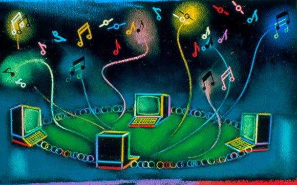אילוסטרציה של רשת מחשבים יוצרת מוזיקה | Andrzej Dudzinski, SPL