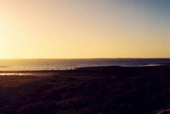 שקיעה בחוף אוסטרלי, עם שמיים כחולים מצד ימין וצהובים-כתומים משמאל | ויקיפדיה, Stephen West