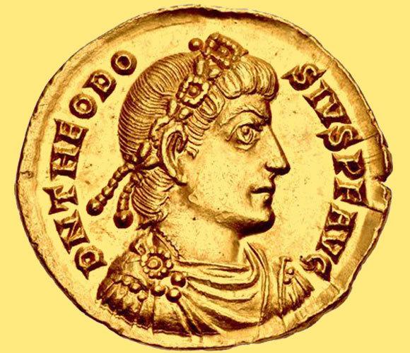 Eine römische Münze aus dem 4. Jh. mit dem Porträt des Kaisers Theodosius I. Quelle: cngcoins.com, Wikipedia