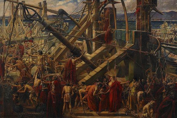 ארכימדס מפקד על הבליסטראות של סירקוסאי | ציור: תומס רלף ספנס, המצור על סירקוז, 198, נחלת הכלל