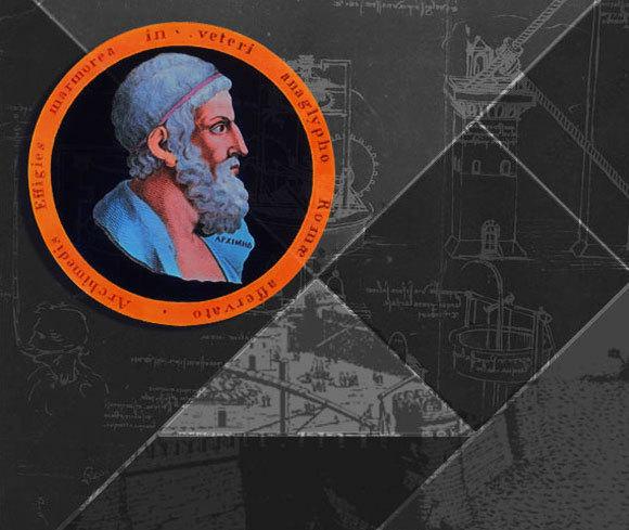 דיוקן של ארכימדס על רקע תרשימים שעשה לאונרדו דה-וינצ'י למשאבות שהוא תכנן וטופר הברזל ששימש נגד ספינות אויב במצור הרומי על סירקוזה | מקורות: THE PRINT COLLECTOR / HERITAGE IMAGES / ANN RONAN PICTURE LIBRARY / HERITAGE IMAGES / SCIENCE PHOTO LIBRARY