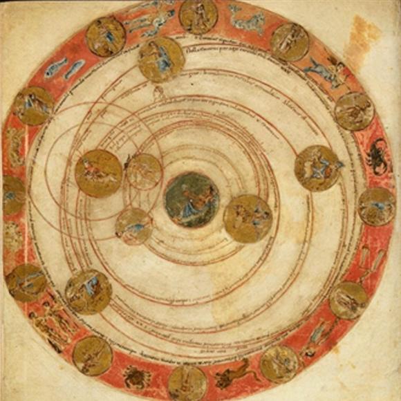 המעגלים השמימיים סביב המעגל הארצי | מקור: הספר Leiden Aratea, שנת 816, דרך Leiden University, wikipedia