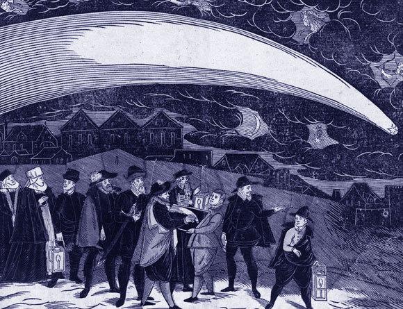 תחריט עץ של אנשים צופים בפראג בשביט של 1577 | מקור: ויקיפדיה, נחלת הכלל
