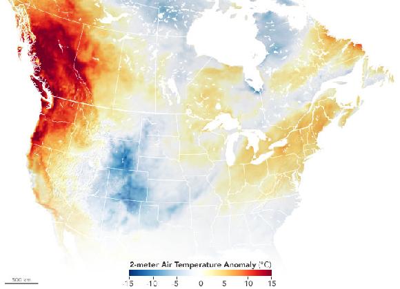 שינויים בטמפרטורת האוויר בצפון אמריקה בסוף יוני 2021. האזורים האדומים הם החמים ביותר | מקור: earthobservatory.nasa.gov