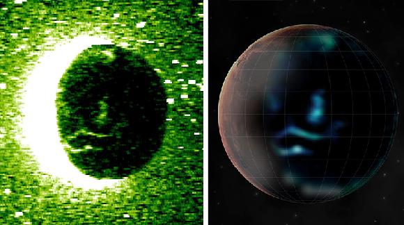 הדמייה בעיני אמן (מימין) והצילום מהספקטרומטר של הלוויין האמירתי (משמאל) של הזוהר האטמוספרי במאדים   מקור: Emirates Mars Mission