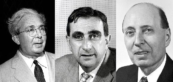 מימין לשמאל: יוג'ין ויגנר, אדוארד טלר וליאו סילארד. החתימה של איינשטיין העניקה למכתב את היוקרה הנחוצה | צילומים: מוויקיפדיה