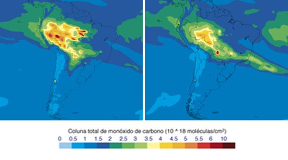 פולטים רעלים: מיפוי לווייני של הפחמן חד-חמצני מעל ברזיל, ב-17 (מימין) וב-21 באוגוסט | מקור: שירות המעקב האטמוספרי CAMS