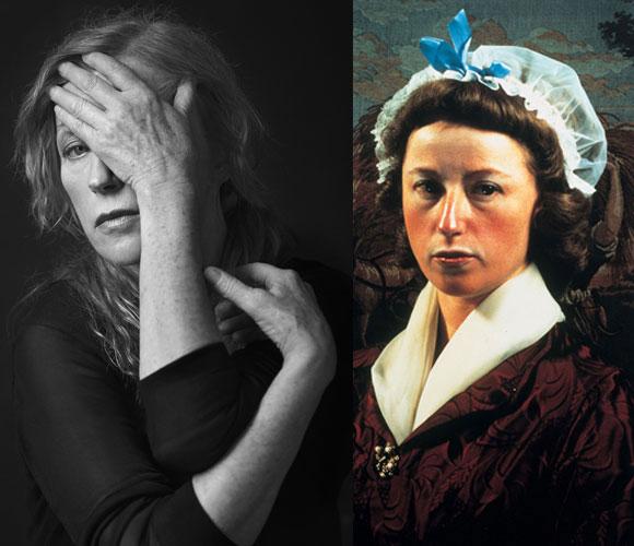 סינדי שרמן באחת מעבודותיה (מימין) ובצילום דיוקן של Richard Phibbs