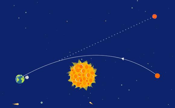 בגלל עיקום האור הכוכב שנמצא מאחורי השמש ייראה מכדור הארץ קרוב לשפתה, ואפשר לראות זאת בליקוי חמה | איור: אלכסנדרה אברוטין