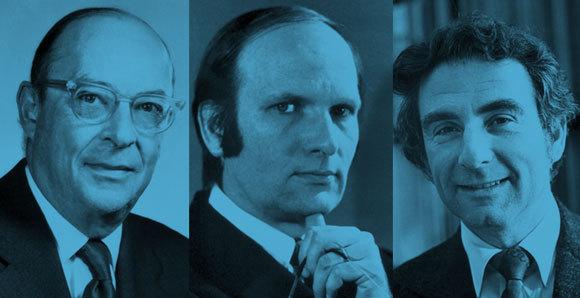 פרס נובל בפיזיקה על הסבר התיאורטי של מוליכות-על. משמאל: ג'ון ברדין, לאון קופר ורוברט שריפר | מקור: אתר פרס נובל