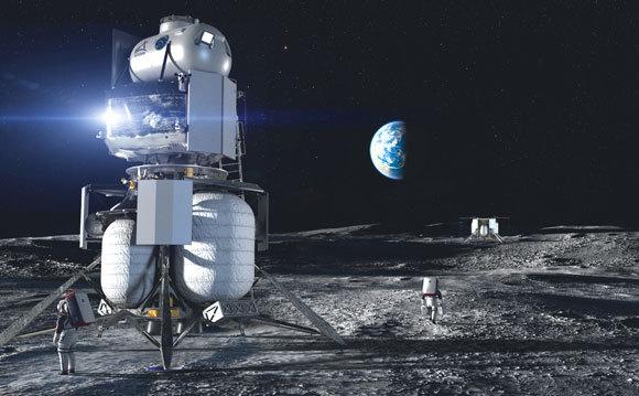 הדמיית החללית של בלו אוריג'ין על הירח | מקור: Blue Origin