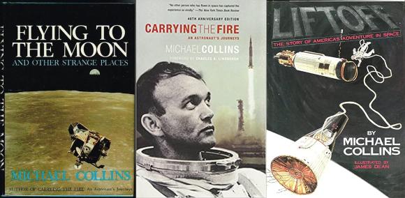הרהוט מבין האסטרונאוטים. כריכות שלושה מספריו של קולינס | מקור: הוצאות הספרים, שימוש הוגן