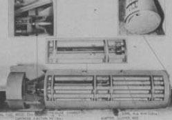 פצצת מצרר אמריקאית, M33, לפיזור חיידקי ברוצלה שפותחה בשנות ה-50. כל צינורית אמורה להתפוצץ בנפרד ולשחרר חיידקים | מקור: ויקיפדיה, נחלת הכלל
