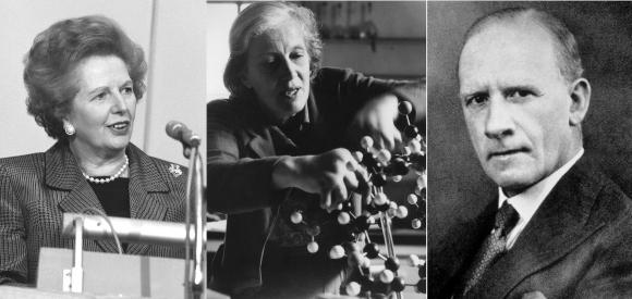 רובינסון (מימין), הודג'קין ומרגרט תאצ'ר (שאז עוד הייתה מרגרט רוברטס) | צילומים: Science Photo Library, ויקיפדיה