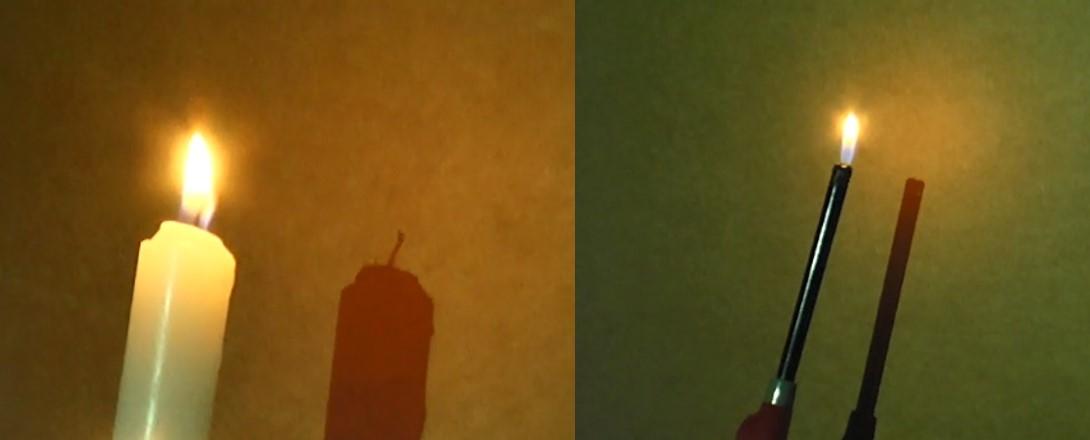 להבה של מצית ושל נר, קרובים לקיר – ללא צל | צילום רועי חובני