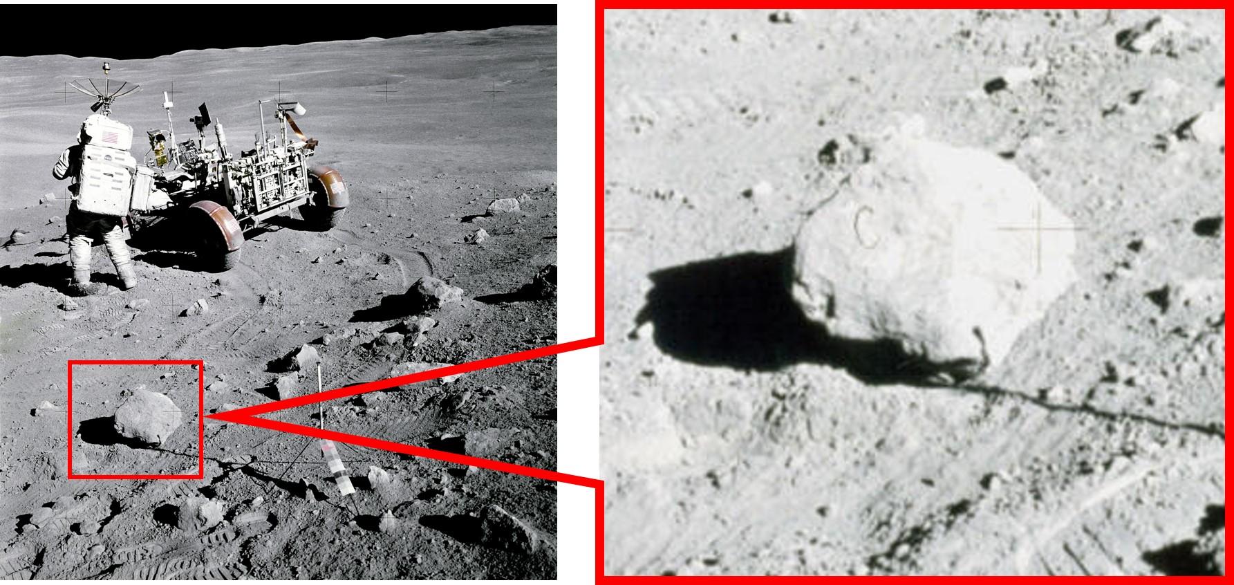 לא אביזר במה, אלא סלע ירח אותנטי, ככל הנראה בליווי שערה שהשתרבבה לאחד משלבי הפיתוח | צילום: NASA