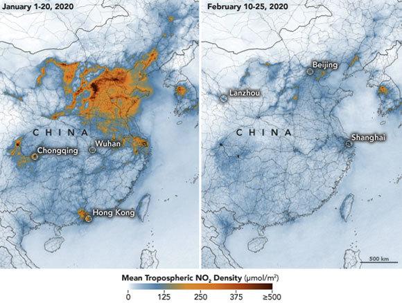 הירידה בריכוזי החנקן הדו-חמצני בסין בפברואר (מימין) לעומת ינואר | מקור: earthobservatory.nasa.gov