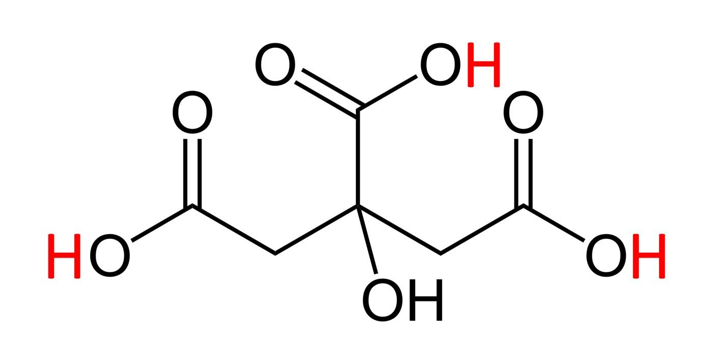 מבנה כימי של חומצת לימון, אטומי הפחמן (C) לא מצויירים. הקווים מציינים קשרים כימיים אל אטומי פחמן. באדום מסומנים שלושת אטומי המימן (H) החומציים