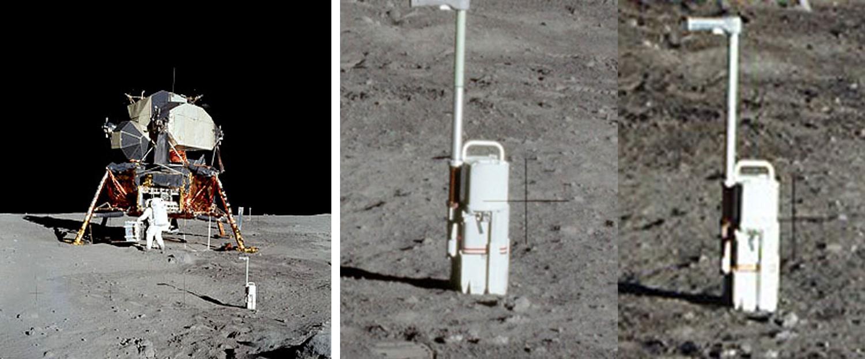 המכשיר בתמונה מימין לא מסתיר את הצלב, זה עניין של חדות ומיקוד, כפי שרואים בתמונה האמצעית | צילומים: NASA