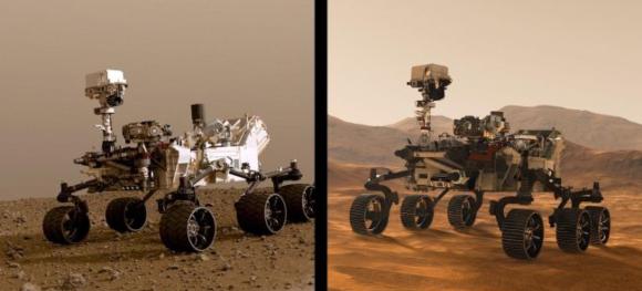 תאומים כמעט זהים, אבל עם הבדלי משקל. הרוברים Perseverance (מימין) ו-Curiosity | מקור: NASA/JPL