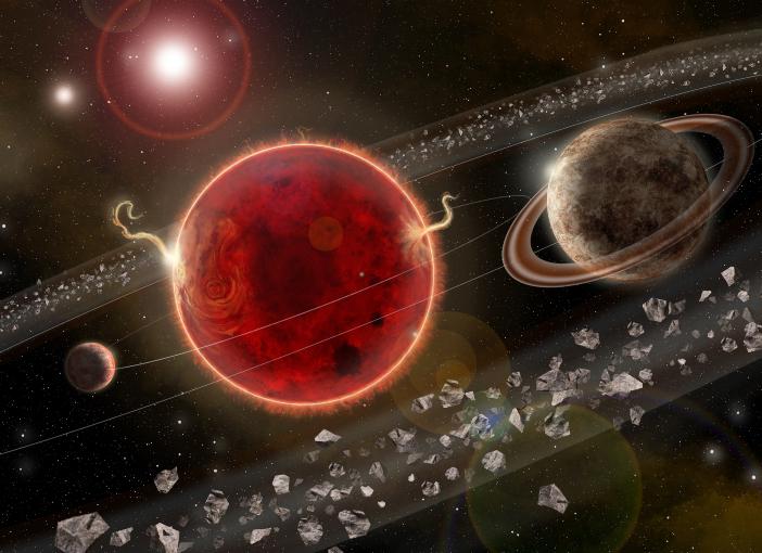 כיתוב: כוכב הלכת שהתגלה (מימין), לצד פרוקסימה קנטאורי (אדום), כוכב הלכת הקטן יותר וטבעת האבק | איור: Lorenzo Santinelli