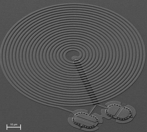 מערכת הניסוי: שני התופים (בתחתית התמונה) מקבלים את גלי המיקרו דרך המתקן הספירלי | צילום: פלונט לקוק / שלומי קוטלר / NIST