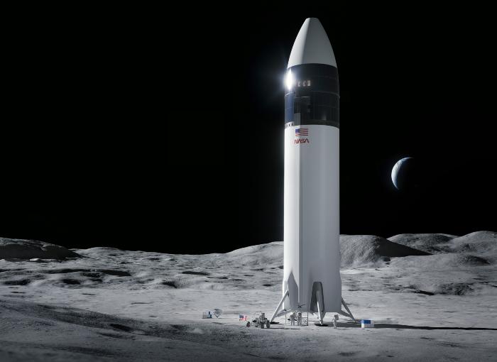 מתאים למגורים ועבודה של שני בני אדם במשך שבוע על פני הירח. הדמיה של רכב הנחיתה המתוכנן | איור: SpaceX