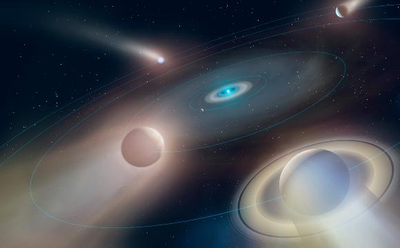האם כך תיראה מערכת השמש שלנו בעתיד? ננס לבן מושך אליו את כוכבי הלכת שנותרו | איור: University of Warwick/Mark Garlick