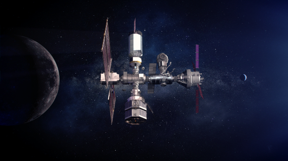 הדמיה של תחנת החלל Lunar Gateway במסלול סביב הירח | איור: NASA