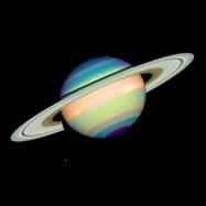 כוכב הלכת שבתאי מצולם בצבעים מייצגים | צילום: טלסקופ האבל, NASA