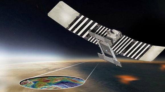 ציור אילוסטרציה של וריטאס, מצלמת את פני השטח של נוגה בעזרת ראדאר | NASA/JPL-Caltech