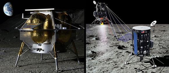 נחיתות עד יולי 2021. הדמיות של משימות Intuitive Machines (מימין) ו- Astrobotics | מקור: Intuitive Machines, Astrobotics