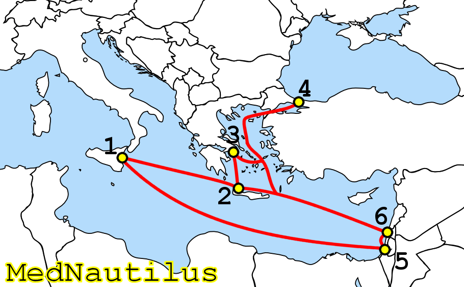 מפת כבלי הסיבים האופטיים התת-ימיים שהניחה חברת מד-נאוטילוס בין תל אביב וחיפה לבין סיציליה וכרתים