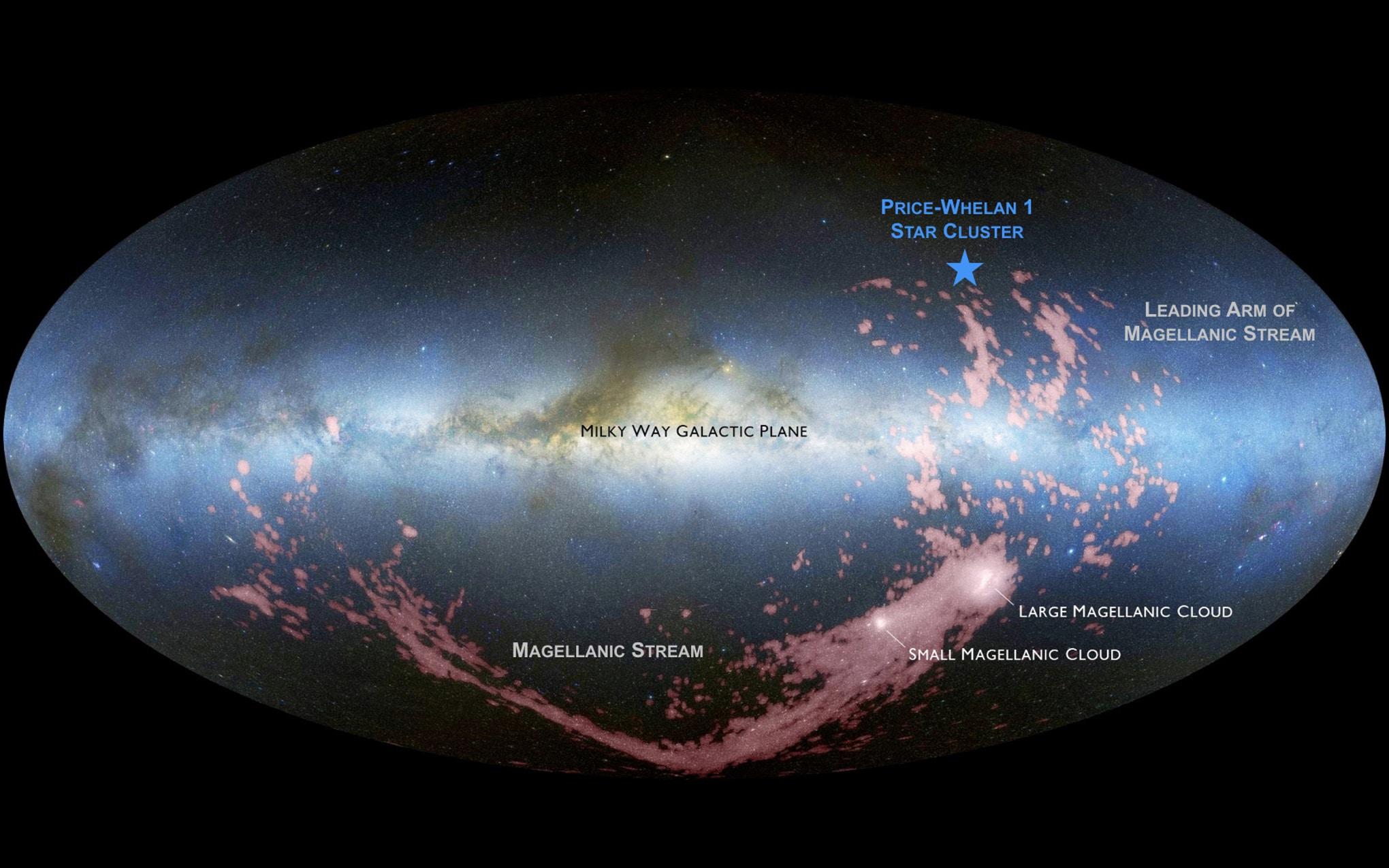 כיתוב: האזור של צביר הכוכבים החדש, מסומן בכוכב כחול, על רקע שביל החלב וענני מגלן | איור: D. Nidever/ NASA/ Simons Foundation