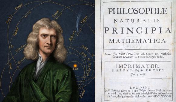 המסמר האחרון בארון הקבורה של המודל הגיאוצנטרי. ניטון ועמוד השער של ספרו המפורסם | מקור: Science Photo Library