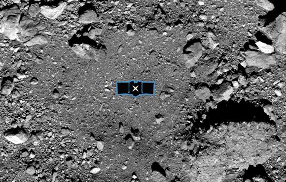 יעד קטן וקשה להשגה. מכתש נייטינגייל, עם ציון של אתר האיסוף במרכזו | צילום: NASA/Goddard/University of Arizona