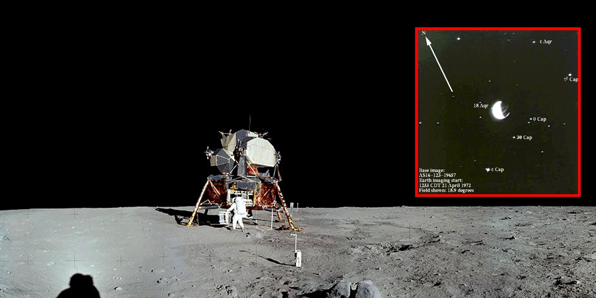 שמיים שחורים בצילום של אפולו 11, אך כוכבים נראים היטב בצילום על-סגול בחשיפה ארוכה (במסגרת) | מקור: NASA