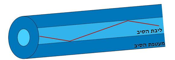מבנה הסיב האופטי: ליבה מוקפת במעטפת בעלת מקדם שבירה נמוך | תרשים: יובל רוזנברג