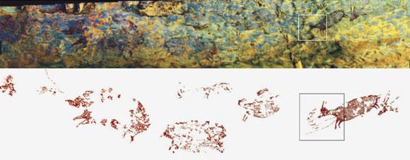 תמונה פנורמית ושרטוט של קיר המערה