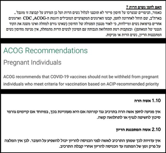 המלצת האיגוד הישראלי למיילדות וגינקולוגיה, במרכז: המלצת מקבילו האמריקאי, ACOG, למטה: הנחיות הביניים של משרד הבריאות