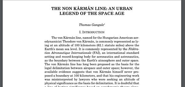 כותרת מאמרו של תומס גנגייל בנושא פון קמרן והגדרתו את גבול החלל