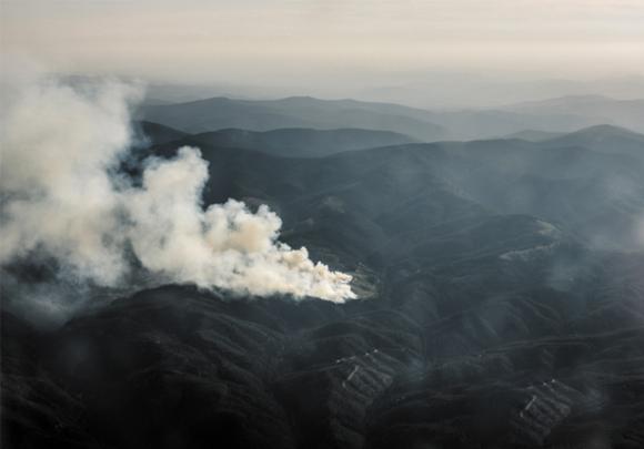 שריפת לִיק קריק באיידהו במבט ממטוס